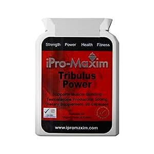 Tribulus Pro-Max - 90 cápsulas, 500mg por cápsula 98% Saponinas. El suplemento farmacéutico profesional más potente en el mercado. Desarrollo muscular y producción de testosterona