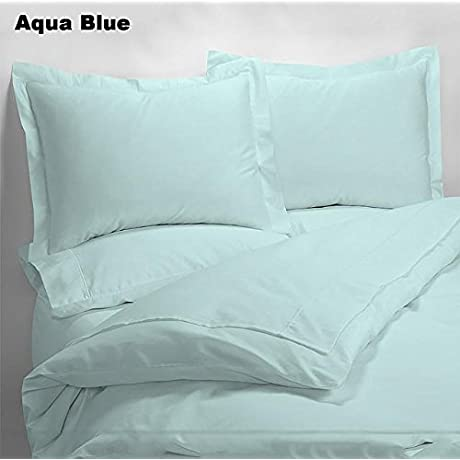 Luxury 600 Thread Counts 7pc Bed In A Bag With 500GSM Comforter Alaska King Size Aqua Blue Solid 100 Egyptian Cotton By PARADISEHOUSE