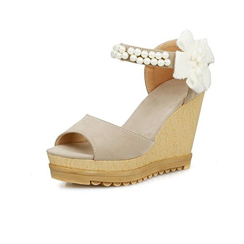 AllhqFashion Women's Imitated Suede Solid Hook And Loop Open Toe High Heels Sandals Beige