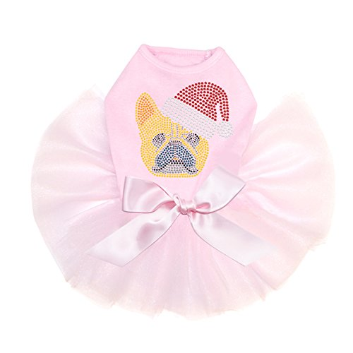 Dog in the Closet, French Bull Dog with Santa Hat - Dog Tutu by Dog in the Closet