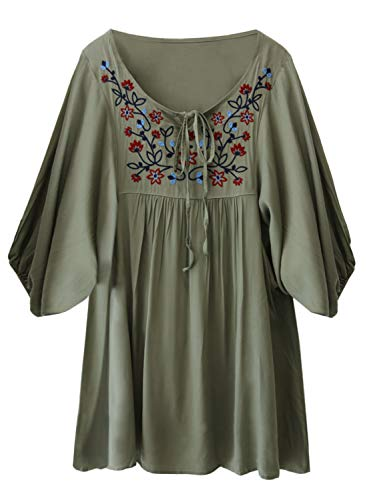 - futurino Women's Bohemian Embroidery Floral Tunic Shift Blouse Flowy Mini Dress