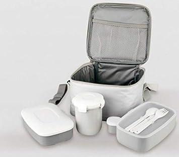 LS - Bolsa Porta Alimentos - Térmica - 4 Recipientes y Cubiertos - Blanca: Amazon.es: Hogar