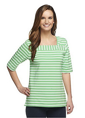 DENIM & CO. Womens Elbow Sleeve Striped Knit Top with Button Detail 240181 (Medium, Green) from Denim & Co.