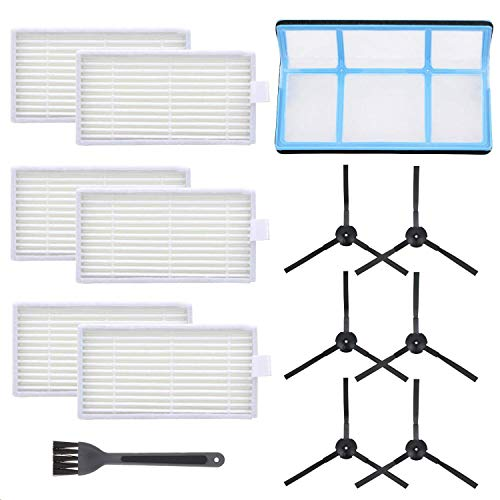Mochenli Vacuum Filter Kit Replacement Compatible with Robotic Vacuum ILIFE V3 V3S V5 V5s, Pro Robot Vacuum Cleaner Filters and 6 Side Brushes and 1 Primary Filter (Pack of 13)
