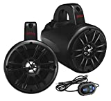 BOSS Audio BM40AMPBT 500 Watt (Per Pair), Bluetooth, Amplified, 4 Inch, Full Range, 2 Way, IPX5 Rated Marine Grade Roll Cage/Waketower Speaker Pods...