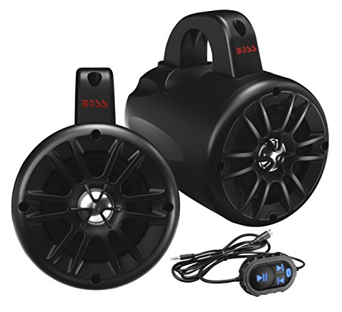 BOSS Audio BM40AMPBT 500 Watt (Per Pair), Bluetooth, Amplified, 4 Inch, Full Range, 2 Way, IPX5 Rated Marine Grade Roll Cage/Waketower Speaker Pods (Sold in Pairs), Wired Bluetooth Controller Included