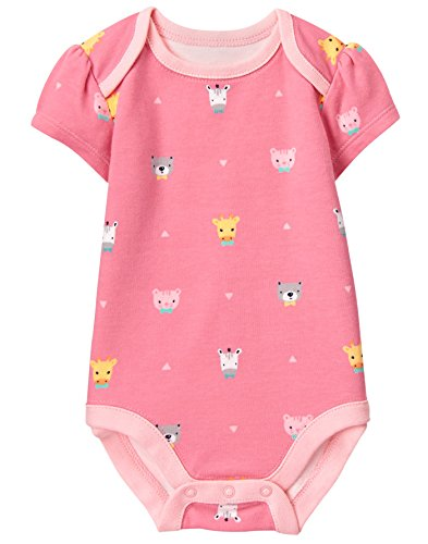 Jungle Bodysuit - Gymboree Baby Girls Short Sleeve Bodysuit, Bowtie Jungle Pink, 0-3 Mo