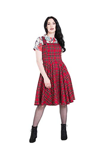 Hell Bunny Irvine Tartan Vintage Retro Pinafore Dress - Red (XL)