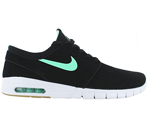 NIKE SB Zoom Stefan Janoski Max Suede Black/Green/Glow White/Gum/Light Brown Skate Shoes-Men 10.0, Women (New Mens Authentic Suede Sneaker)