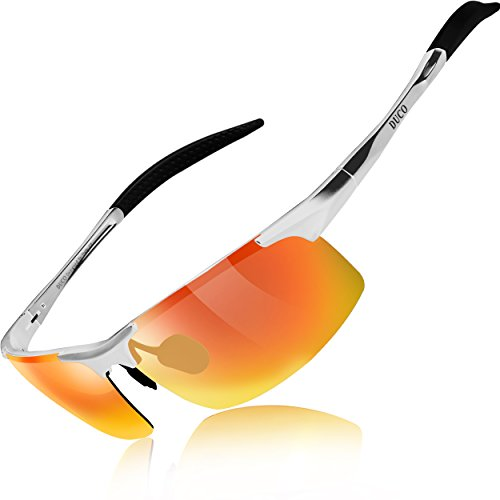 DUCO Mens Sports Polarized Sunglasses UV Protection Sunglasses for Men 8177s(Silver Frame Revo Gold Lens)