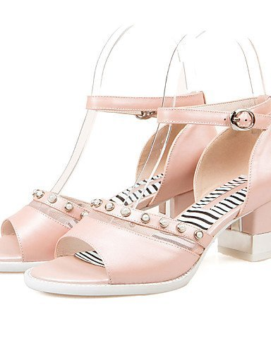 ShangYi Open Pink amp; Shoes White Chunky Sandals Toe Dress pink Women's Casual Career Heel Office Toe Peep 6YFSwYrxq