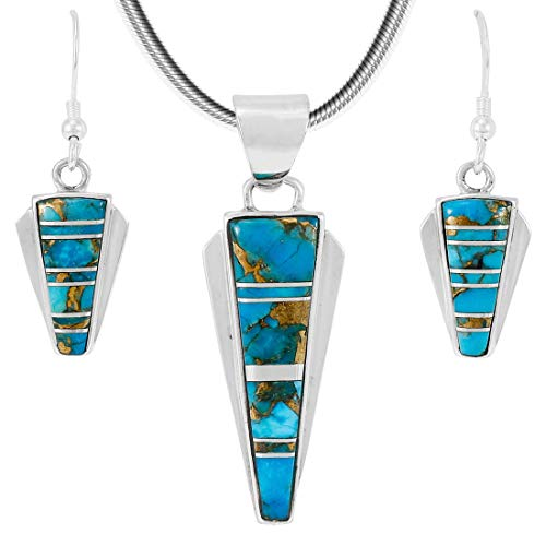 (925 Sterling Silver Matching Pendant & Earrings Set Genuine Turquoise 20