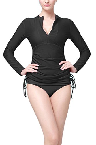 Micosuza UV Sun Protection Women's Basic Skins Long-Sleeve Rashguard Top, Black, M for Chest 34