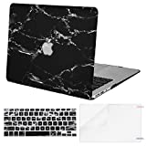 MOSISO MacBook Air 13 Case (A1369 & A1466, Older Version 2010-2017 Release), Plastic Pattern Hard Case & Keyboard Cover & Screen Protector Only Compatible MacBook Air 13 Inch, Black Marble