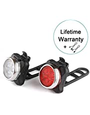 WitMoving WM007X Bike Light Set 650mAh USB Rechargeable Front and Rear Bicycle Lights (Red)Taillight, (White)Headlight,4 Light Mode Options, 2 USB cables for Camping, Cycling
