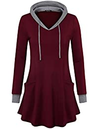 Women's Pullover Hooded Sweatshirt Long Sleeve T Shirt Color Block Thin Tunic Top with Pockets