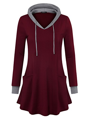 VALOLIA Sweatshirt Tunic, Long Sleeve V Neck Pullover Hoodie Sweatshirts Wine Red XX-Large (Dresses Boots Sweater)