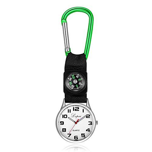 Dilwe Sportuhr, Lässige Multifunktions Kompassuhr mit Einem Karabinerhaken an der Taschenlaufuhr für Camping