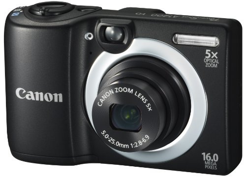 Canon PowerShot A1400 16.0 MP Digital Camera with 5x Digital Image Stabilized Zoom 28mm Wide-Angle Lens and 720p HD Video Recording (Black) (OLD MODEL) ()