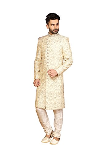 Jaipur Collections Mens Indo Western Wedding Cream Designer Partywear Traditional R-2541 by Jaipur Collections