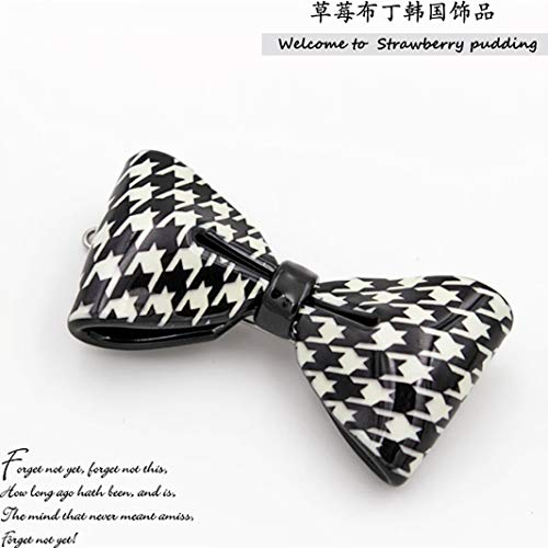 OLIJU Wedding Party Hair Styling Clip Jewelry Fashion Vintage Houndstooth Bow Hairpin (Bow - Buckle Card