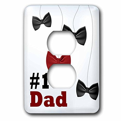 Anne Marie Baugh - Fathers Day - Number 1 Dad With Dangling Red and Black Bow Ties - Light Switch Covers - 2 plug outlet cover (lsp_235960_6) - Dangling Bow