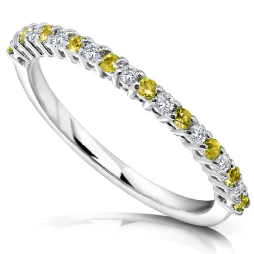 1/4ct TW Round Yellow Sapphire and Diamond Half-Eternity Ring in 14k White Gold - Size 5