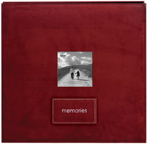 Suede 12x12 Album - Embroidered Patch Faux Suede Frame Postbound Album 12