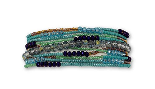 Mayan Arts Beaded Bracelet, Magnetic Clasp, Turquoise, Multi Strand, Shabby Chic, Jewelry, Handmade in Guatemala (Brown -