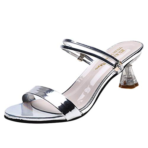 Randolly Women's Shoes  Open Toe Sandals Slippers Summer Middle High Heels Chunky Party Shoes Silver