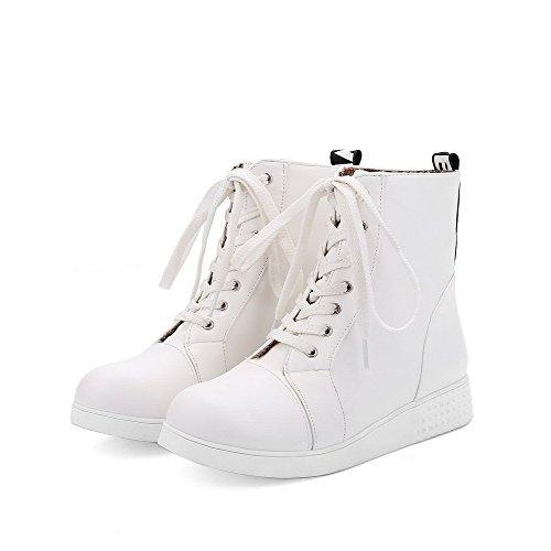 AllhqFashion Mujeres Pu Caña Baja Sólido Cordones Mini Tacón Botas Blanco