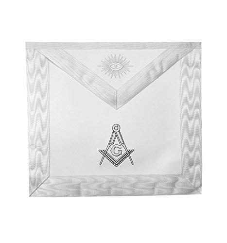Masonic Master Mason White Apron with machine embroidery square compass MA023