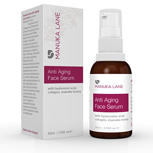 Manuka Lane Anti Aging Face Serum with Hyaluronic Acid, Collagen and All Natural New Zealand Manuka - New Acid