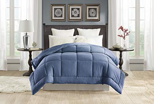 """TAHARI HOME Pre-washed All-Season Extra Soft Comforter – Plush Siliconized Fiberfill - Duvet Insert or Stand-Alone Comforter with Tabs – Machine Washable – hypoallergenic (Twin 70"""" x 90"""", Faded Denim)"""