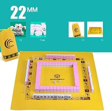 JIANGQIAO Mini 22MM / 24MM portátil Carry Viaje Mahjong Mahjong Juego de Bolsa de Piel con la
