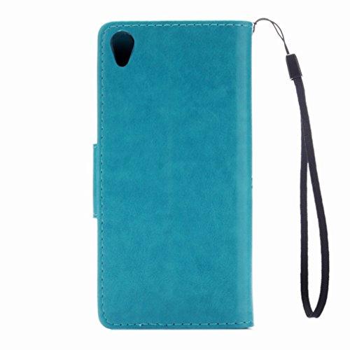 Custodia Sony Xperia XA Cover Case, Ougger Fiore Farfalla Portafoglio PU Pelle Magnetico Stand Morbido Silicone Flip Bumper Protettivo Gomma Shell Borsa Custodie con Slot per Schede (Azzurro)