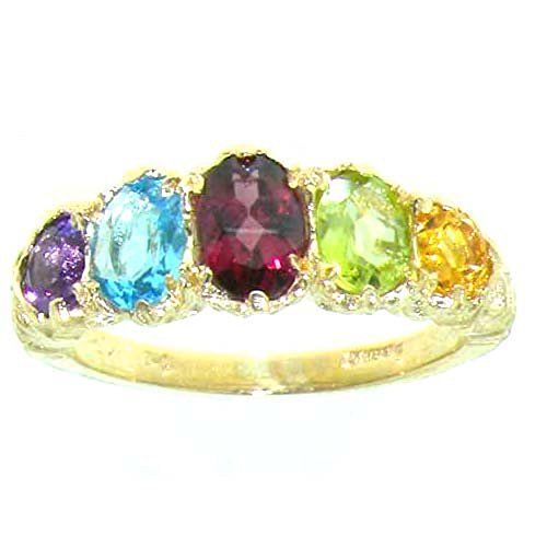 14k Gold Multi Gemstone Ring - LetsBuyGold 14k Yellow Gold Natural Multi Gemstone Womens Promise Ring - Size 5.5