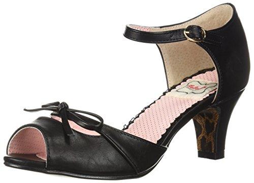 Bettie Page Womens Bp250-sandalo Con Tacco Tegola Nero