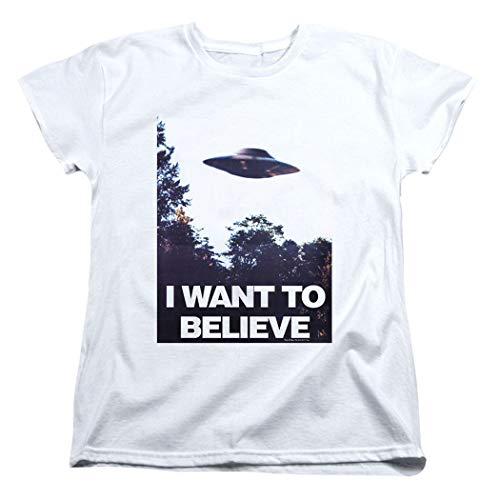 X-Files I Want to Believe Aliens UFO Women's T Shirt & Stickers (Medium) White (I Tshirt To Believe Want Xfiles)