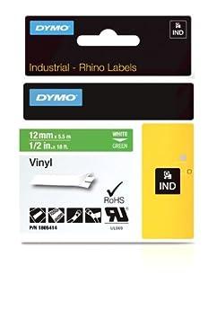 Dymo Rhino Industrial Labels Vinyl 24mm x 5.5m - White on Green Newell Rubbermaid 1805426