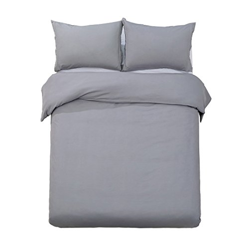 Word of Dream Brushed Microfiber Duvet Cover Set - Lightweight and Soft - Twin, Gray