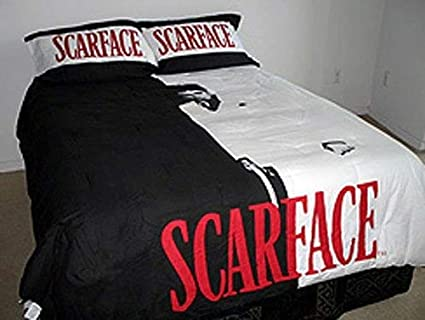 JPI 3 Piece Black White Red Scarface (Tony Montana) Comforter with Pillow  Case Set Queen/Full Size Bed