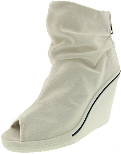 Canvas White Toe Heels Wedge Shoes Open Wrinkled 777 Maxstar w4qS7Iq