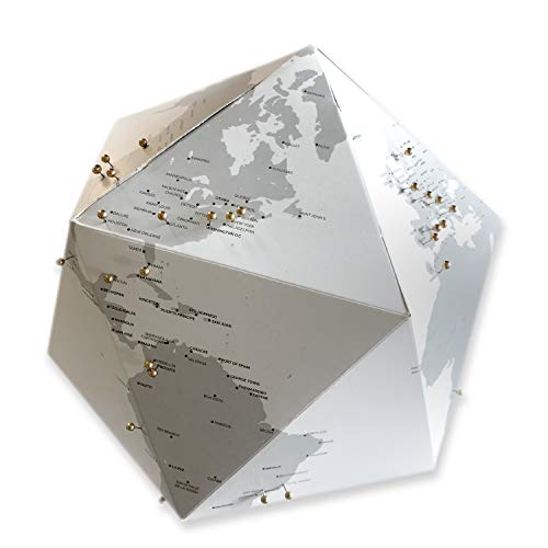 Eye Travel Lab. 3D Paper Globe - XL Travel Journey World Map - Travel Tracker - Gold Pins - Mark Where You Have Been!