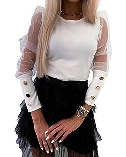 Blusa Mujer Bordado Transparente con Cuello Top Mujer Camisa Moderna Manga Ancha con Botones elástica en los puños: Amazon.es: Ropa y accesorios