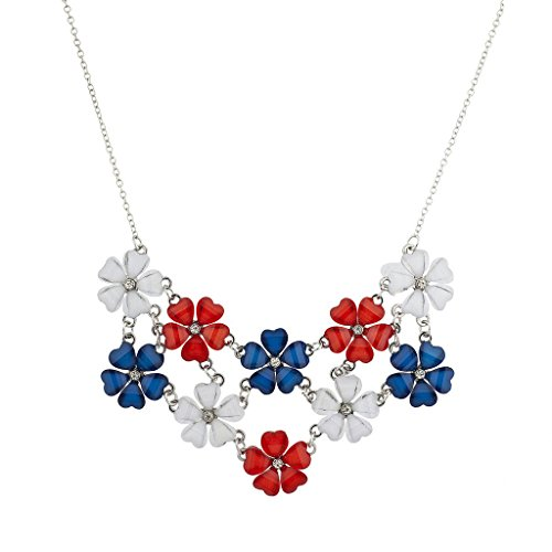 Lux Accessories Silvertone July 4th Flower Floral Mini Bling Statement Necklace