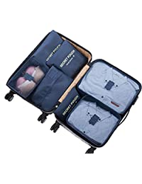 Ximito 7 Set Packing Cubes Travel Luggage Waterproof Organizers - 3 Travel Cubes + 3 Pouches + 1 Shoe Bag (Navy Blue)