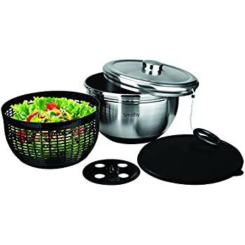 Premium Salad Spinner with Stainless Steel Serving Bowl and Storage Lid