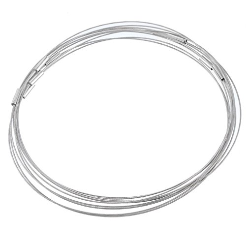 Clasp Wire (Souarts Grey Steel Wire Choker Necklace Magnet Clasps Pack of 10pcs)