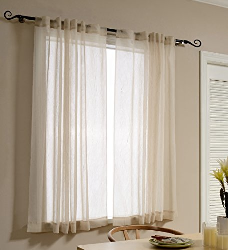 Mysky Home Back Tab and Rod Pocket Window Crushed Sheer Curtains for Living Room, Wood Beige, 51 x 63 inch, Set of 2 Crinkle Sheer Curtain Panels